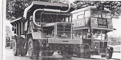A 1962 AEC 1100 Diesel Dumptruck 4WD and a AEC Routeman bus