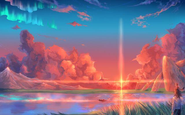 File:Konachan.com - 154608 animal boat clouds hoshi wo ou kodomo sky sunset water (1).jpg