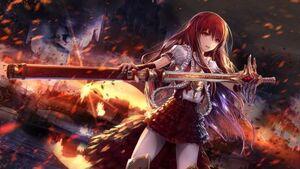 Battle zone warrior fire blade anime girl hd-wallpaper-1701400