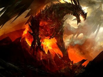 Dragons fire volcanoes fantasy art artwork 1600x1200 wallpaper www.wallmay.com 30