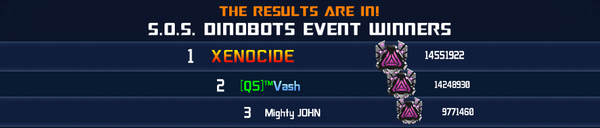 Event SOS Dinobots Solo Winner