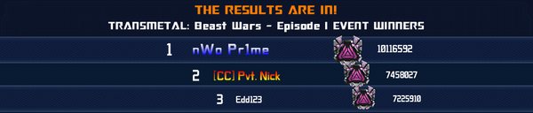 Event Transmetals Beast Wars Episode 1 Solo Winner