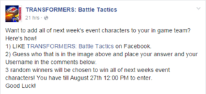 P facebook contest cybertron episode 2 seekers