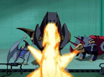 TFA Blast Past Dinobots burn