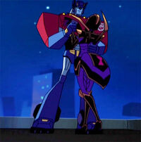 TFA ep9 Optimus and Blackarachnia rooftop
