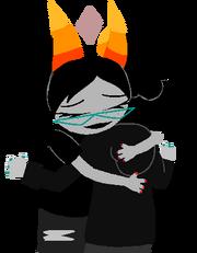 Romeda and Ceatus hug