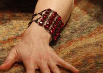 Marianna-harutunian-red-swarovski-crystal-black-metal-bracelet-gallery