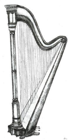 File:Harp Pencil Drawing by KouMiRien.jpg