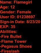 TTA Flamegirl's Stat Card
