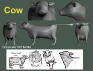 Cow Greyscale CGI Model