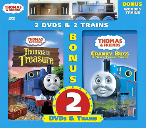 File:ThomasandtheTreasureandCrankyBugsDVD2-packwithWoodenThomasandToby.png