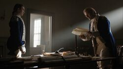 George Washington reads Abraham Woodhull's report aloud to Benjamin Tallmadge