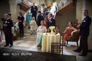 Wedding guests between takes (can you spot the person not supposed to be in the scene)
