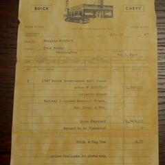Douglas Milford's Buick receipt