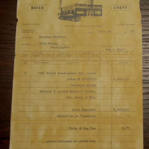 The receipt from Milford's 1947 Buick Roadmaster, dated July 14, 1947