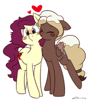 1304112 safe oc blushing lesbian pegasus earth pony kissing couple artist-colon-melodicmarzipan oc-colon-sweet mocha (1)