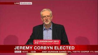 Jeremy Corbyn speech on winning Labour leadership (12Sept15)