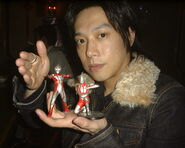 Takeshi with Mebius & Ultraman