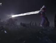 Ultraman Tiga fires a Zepellion Ray to Gatanothor