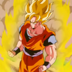 Goku shows off the SSJ form against the Androids