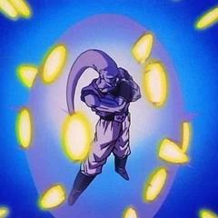 Vegeta's energy blasts hit Super Buu's forcefield.