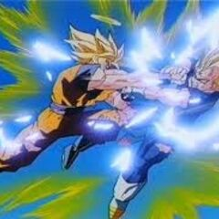 Goku has an epic fight with Majin Vegeta!