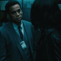 Detective Sebastian speaks with Selene.