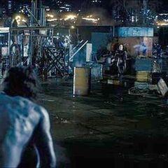 Michael running towards Selene.