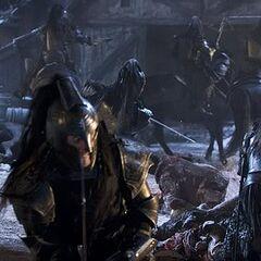 Death Dealers fighting Werewolves in the village