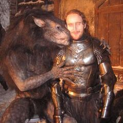 A joke behind the scenes image of actor Tony Curran with a Werewolf.
