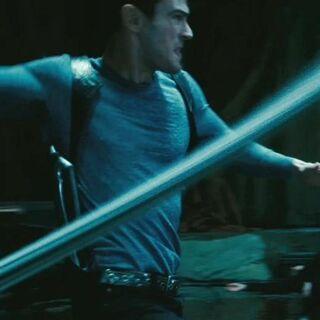 David using a whip.