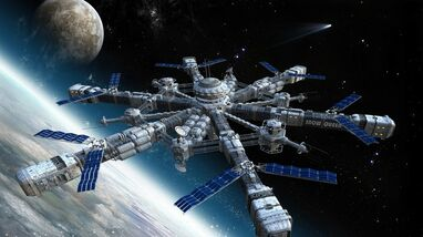 Outer space international space station concept art 1366x768 wallpaper www.wallpaperhi.com 57