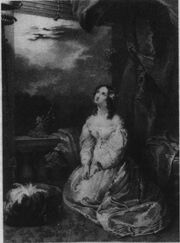 A black-and-white engraving showing a young woman kneeling down and looking up with her hands clasped. She is wearing a white dress and has dark ringlet curls. She appears to be on a balcony, with clouds in the background.
