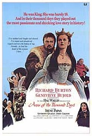 Original movie poster for the film Anne of the Thousand Days