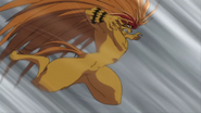 Tora jumping to attack the demon