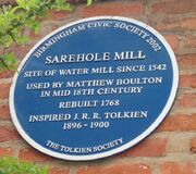 Tolkien's Sarehole Mill blue plaque