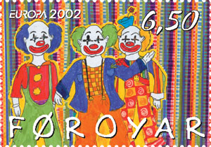 File:Filatelie - Faroe stamp clowns.jpg