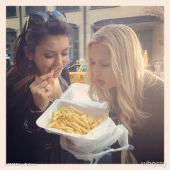 Nina and Claire taking a break on set