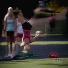 Rebekah doing an aerial (no hand cartwheel) in 3x06