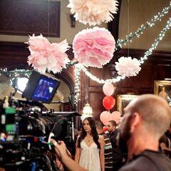 Behind the scene as they shoot Nina Dobrev