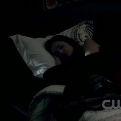 Meredith sleeping in her bedroom