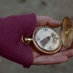 Caroline using the compass