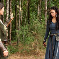 Tatia and Elijah after she discovers his vampirism