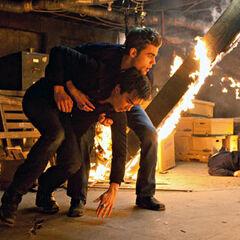 Stefan saving Damon