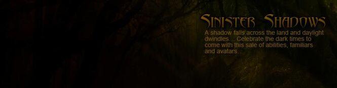Sinister Shadows Sale banner
