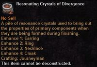 Resonating crystals divergence
