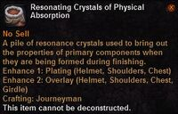 Resonating crystals physicalabsorption