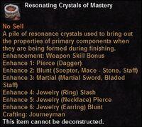Resonating crystals mastery