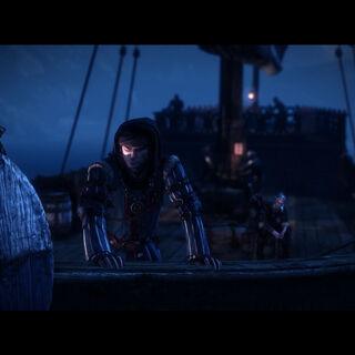 Роше и Геральт на корабле Синих Полосок