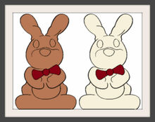 Two Chocolate Bunny Colorful Frames